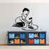 Boy Playing with Sailboat Decal
