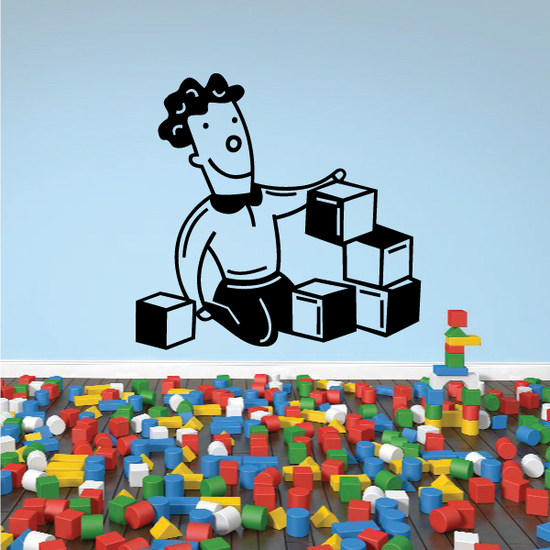 Boy Playing With Blocks Decal