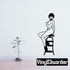 Topless Woman Sitting on Stool Decal