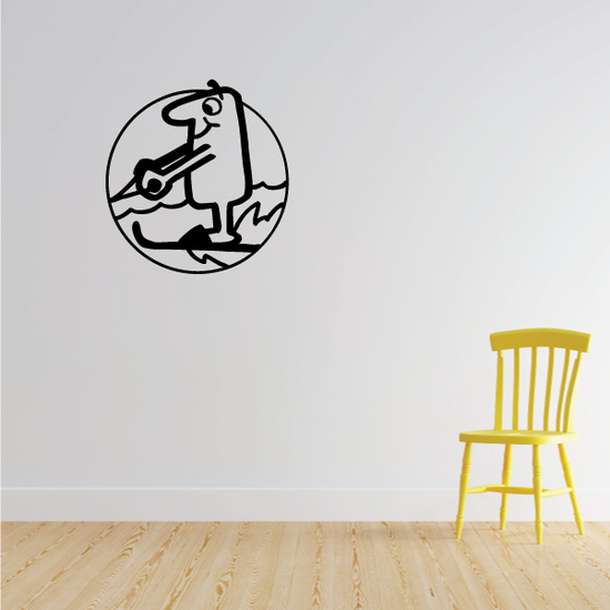 Water Skiing Cartoon Decal