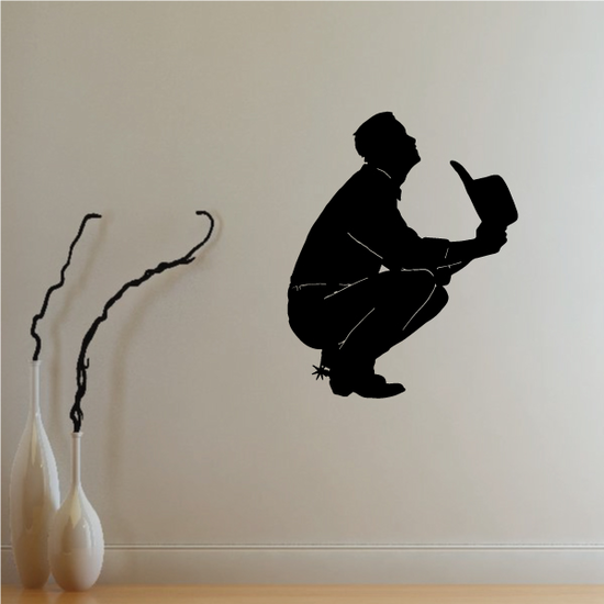 Cowboy with Spurs Praying Decal