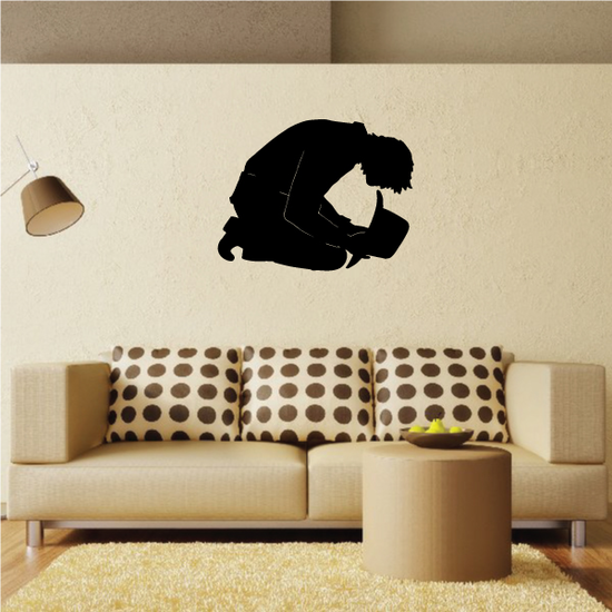 Cowboy Holding hat to ground praying Decal