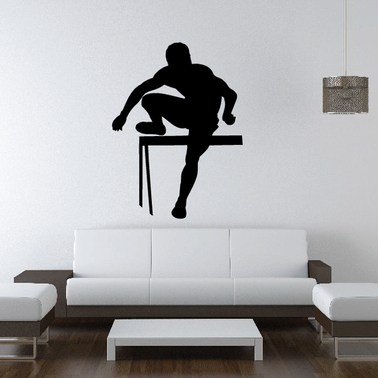 Male Hurdle Jumping Decal
