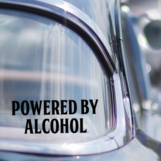 Powered By Alcohol Decal