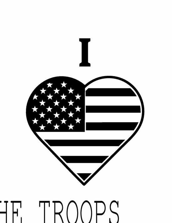 I Heart the Troops Decal