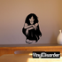 Sitting Woman with Curly Hair Decal