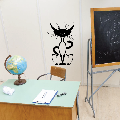Whisker Cat Sitting Decal