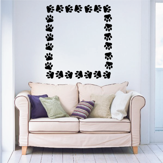 Cat Paw Print Circle with Heart Decal