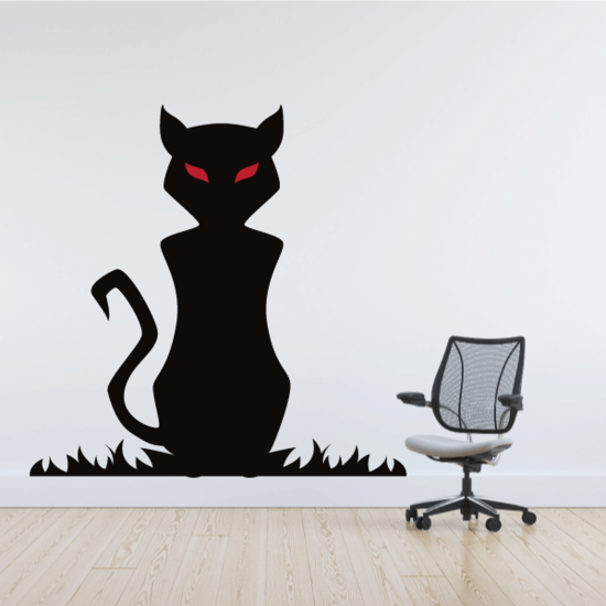 Evil Cat with Red Eyes Sticker