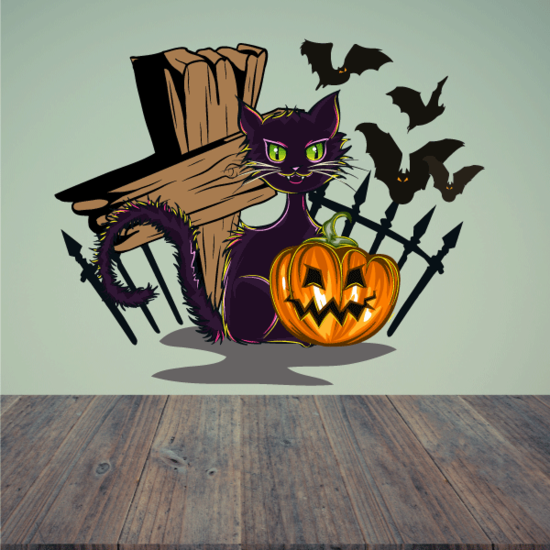 Spooky Cat with Pumpkin and Flying Bats Printed Die Cut Decal