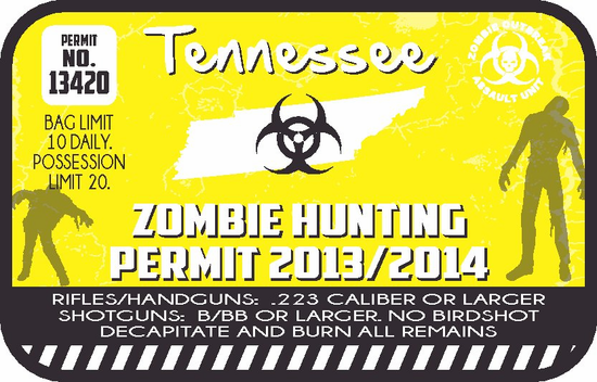 Tennessee Zombie Hunting Permit Sticker