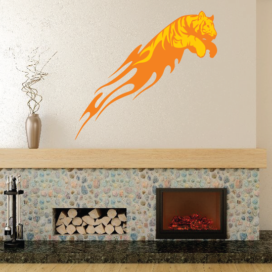 Flaming Leaping Tiger Sticker