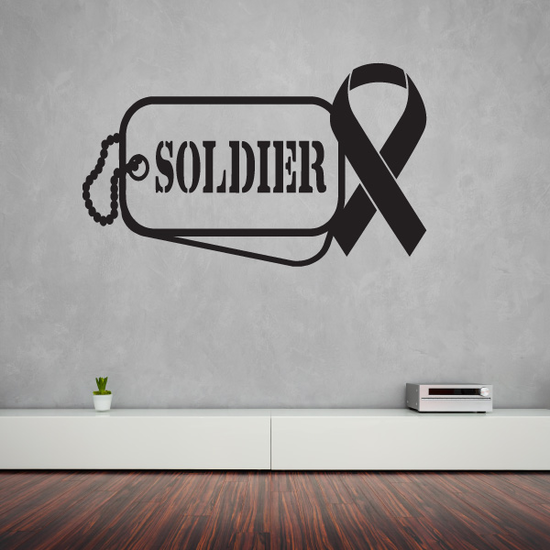 Soldier Dog Tag with Ribbon Decal