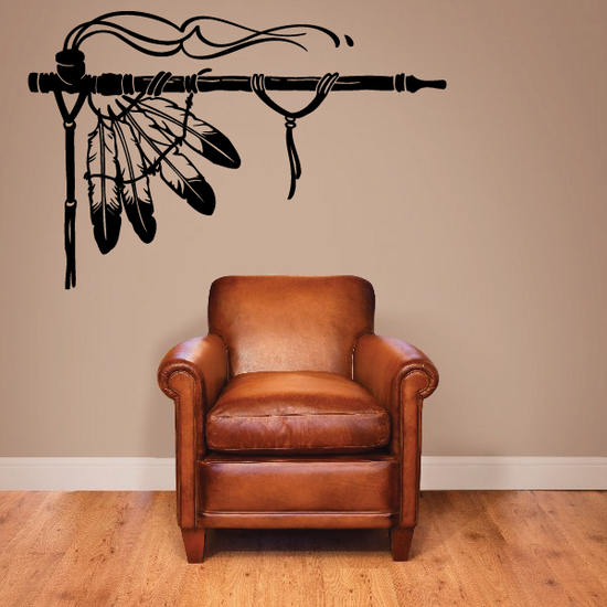 Smoking Peace Pipe With Feathers Decal