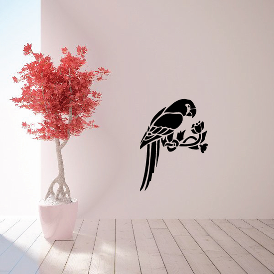 Parrot on Floral Branch Decal