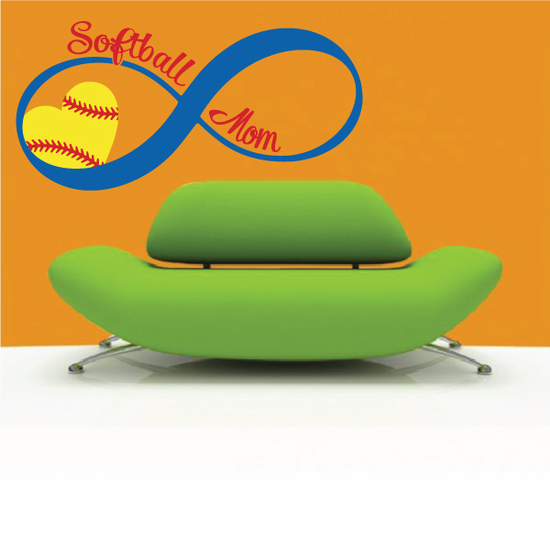 Softball Mom Quote Color Wall Decal - Vinyl Decal - Car Decal - Vd005