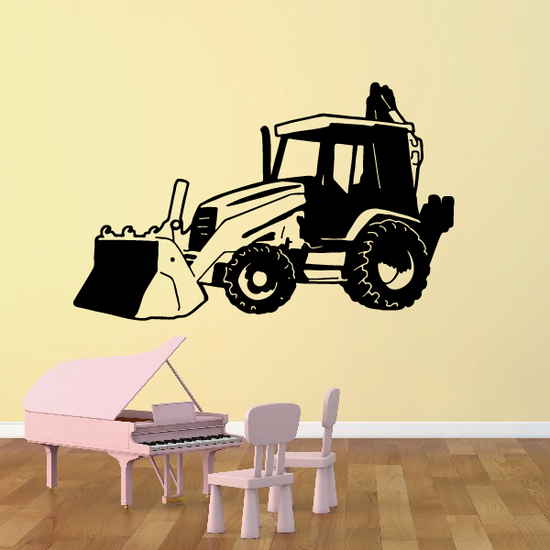 Parked Front Loader with Backhoe Decal