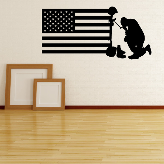 America Flag with Fallen Soldier Decal