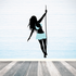 Girl in Blue Swinging from Rope Sticker