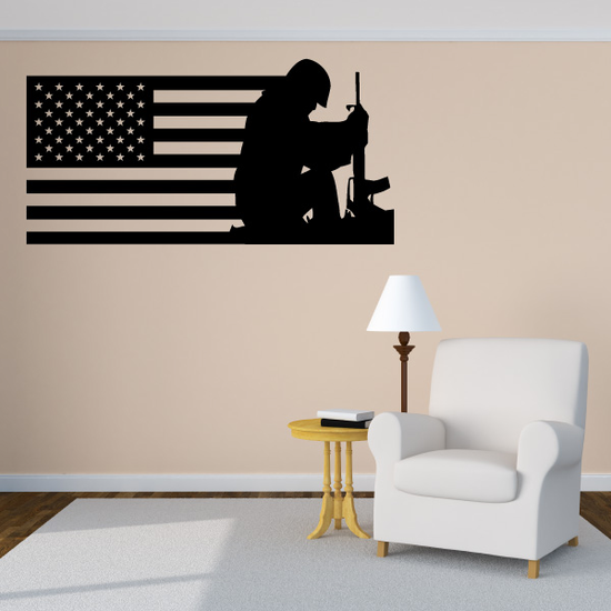 America Flag with Quiet Soldier Decal