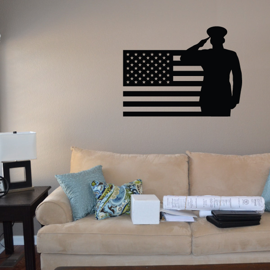 America Flag with Saluting Marine Decal