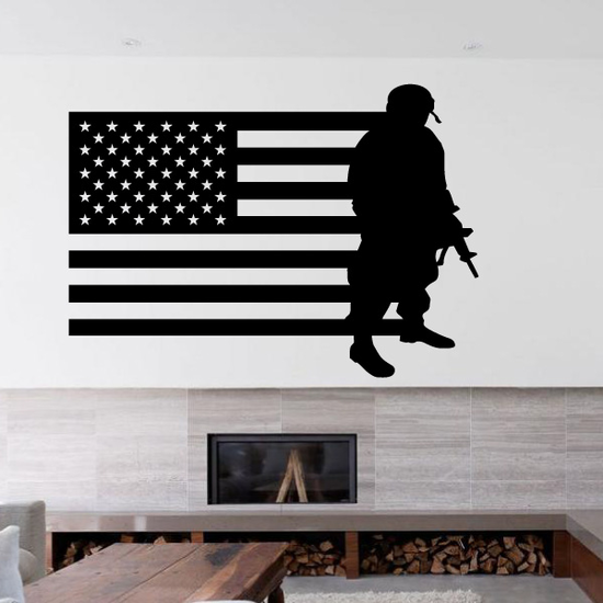 America Flag with Heavy Soldier Decal