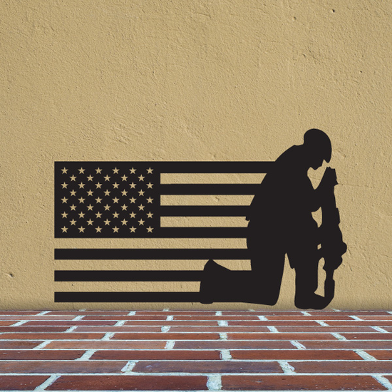 America Flag with Somber Soldier Decal