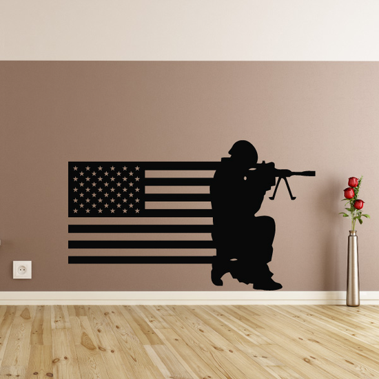 America Flag with Prone Soldier Decal