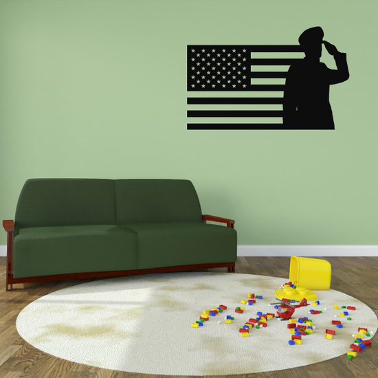 America Flag with Marine Decal
