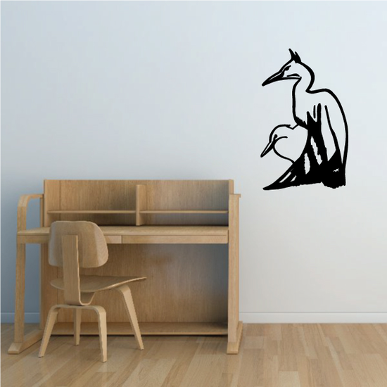 Egret and Chick Decal