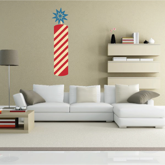 Striped Firecracker Printed Die Cut Decal