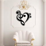Music Note Heart Decal