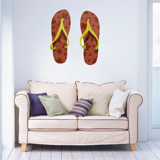 Brown and yellow Sandals Sticker