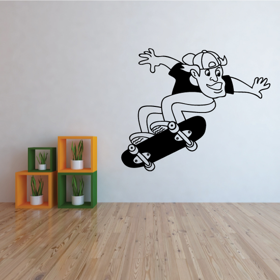 Skater Doing An Ollie Skateboarder Skateboarding Wall Decal - Vinyl Decal - Car Decal - MC004