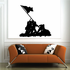 Iwo Jima Soliders with Flag Silhouette Decal