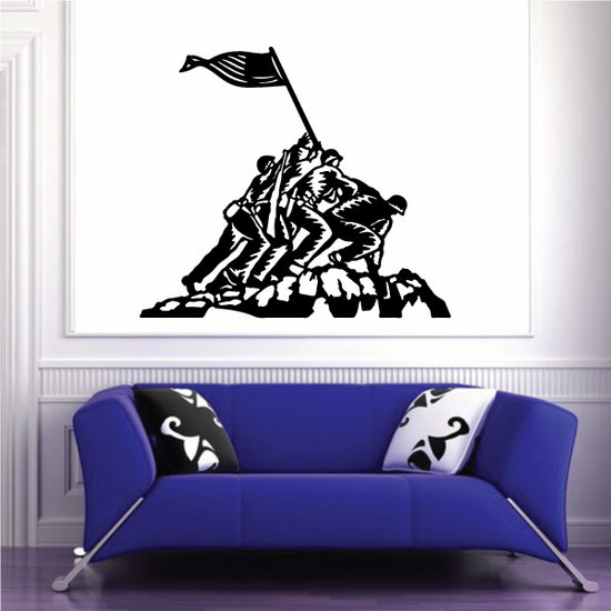 Iwo Jima Soliders with Flag Decal
