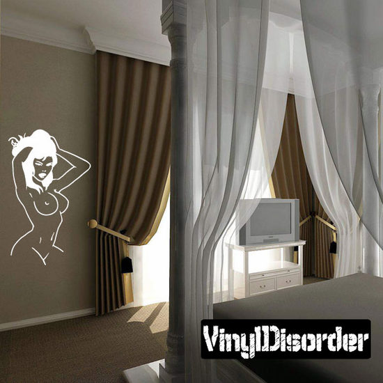 Nude Woman Playing with Hair Decal