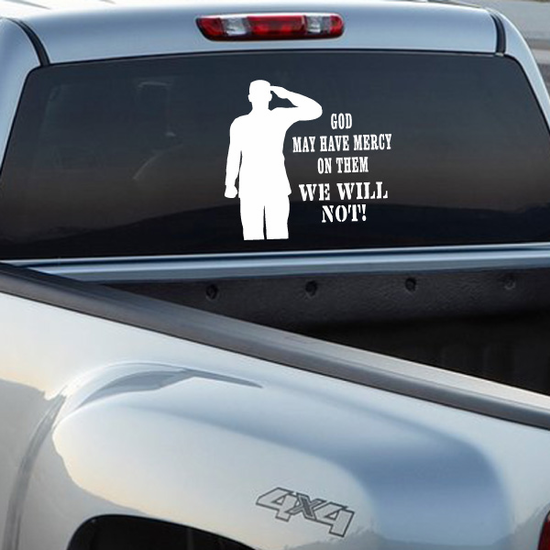 God May Have Mercy Salute Decal