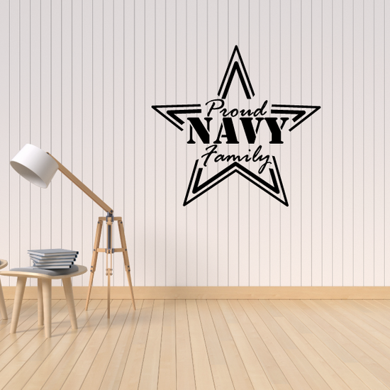 Proud Navy Family Star Outline Decal