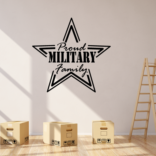 Proud Military Family Star Outline Decal