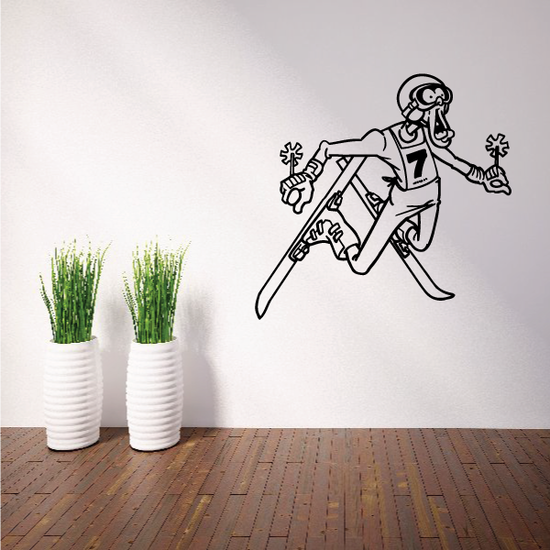 Skiing Wall Decal - Vinyl Decal - Car Decal - Bl018