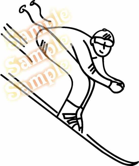 Downhill Skier Skiing Wall Decal - Vinyl Decal - Car Decal - MC001