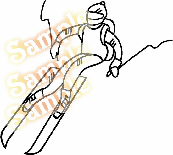 Skier Jumping Skiing Wall Decal - Vinyl Decal - Car Decal - MC004