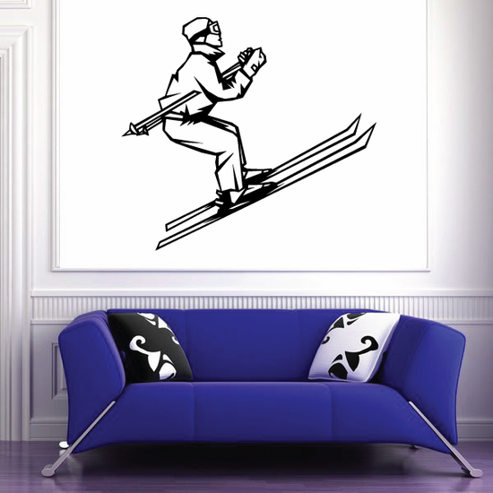 Skiing Wall Decal - Vinyl Decal - Car Decal - SM001