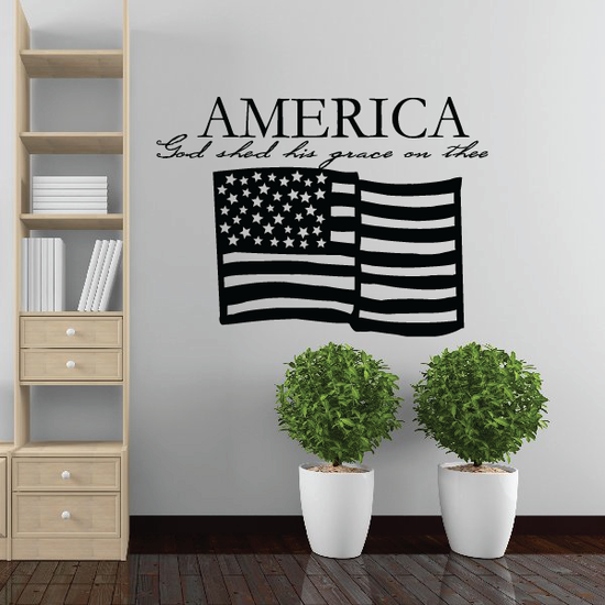 America God Shed His Grace Wall Decal