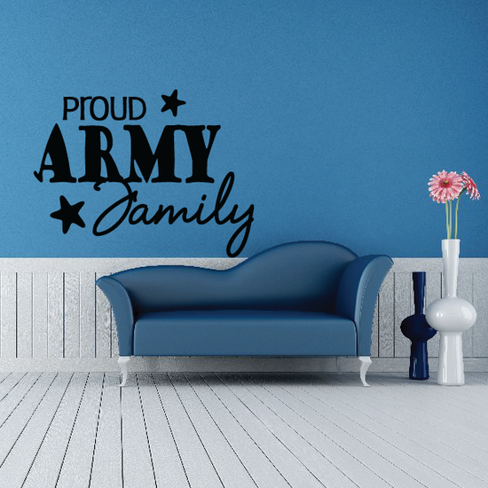 Proud Army Family Script with Stars Decal
