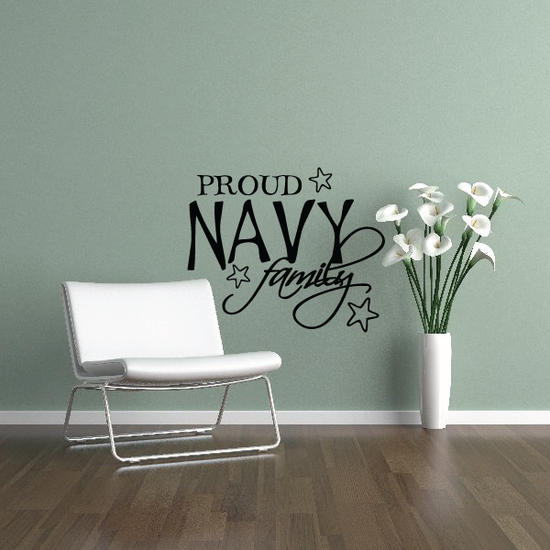 Proud Navy Family Script Decal