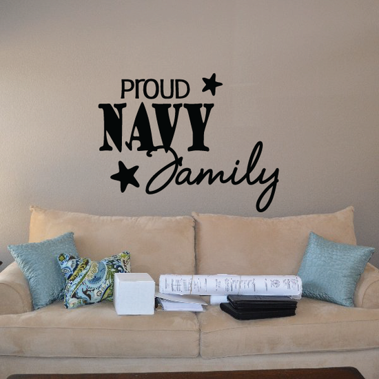 Proud Navy Family Script with Stars Decal