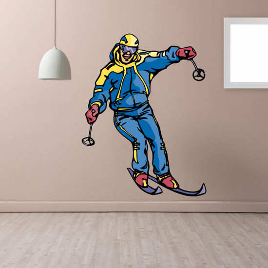 Skiing Wall Decal - Vinyl Sticker - Car Sticker - Die Cut Sticker - CDSCOLOR113