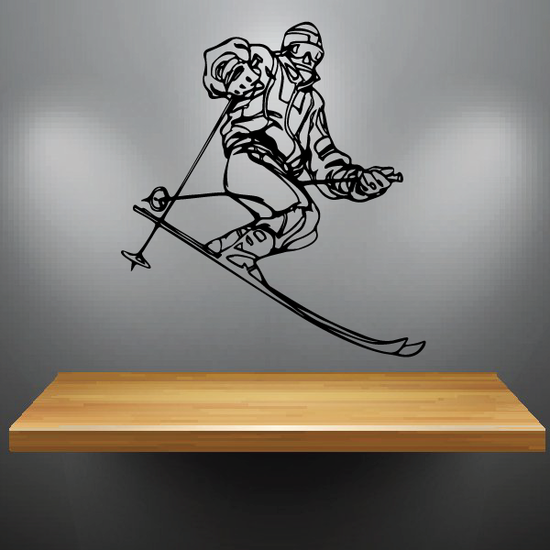 Skiing Wall Decal - Vinyl Decal - Car Decal - CDS042